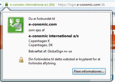 skærmbillede af e-conomic login-side