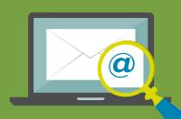 Email med lup og snabela