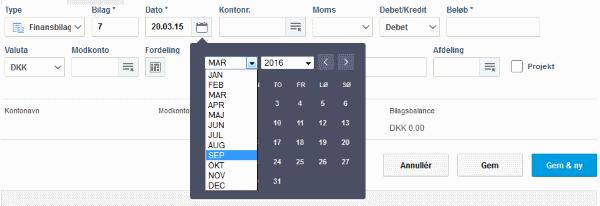 Dropdown i datovælger i e-conomic