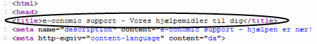 html-kode med title tag
